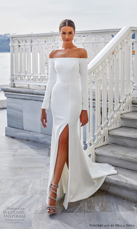white lace milla nova 2022 bridal long sleeve off shoulder straight across neckline clean minimalist sheath wedding dress slit skirt (28) mv