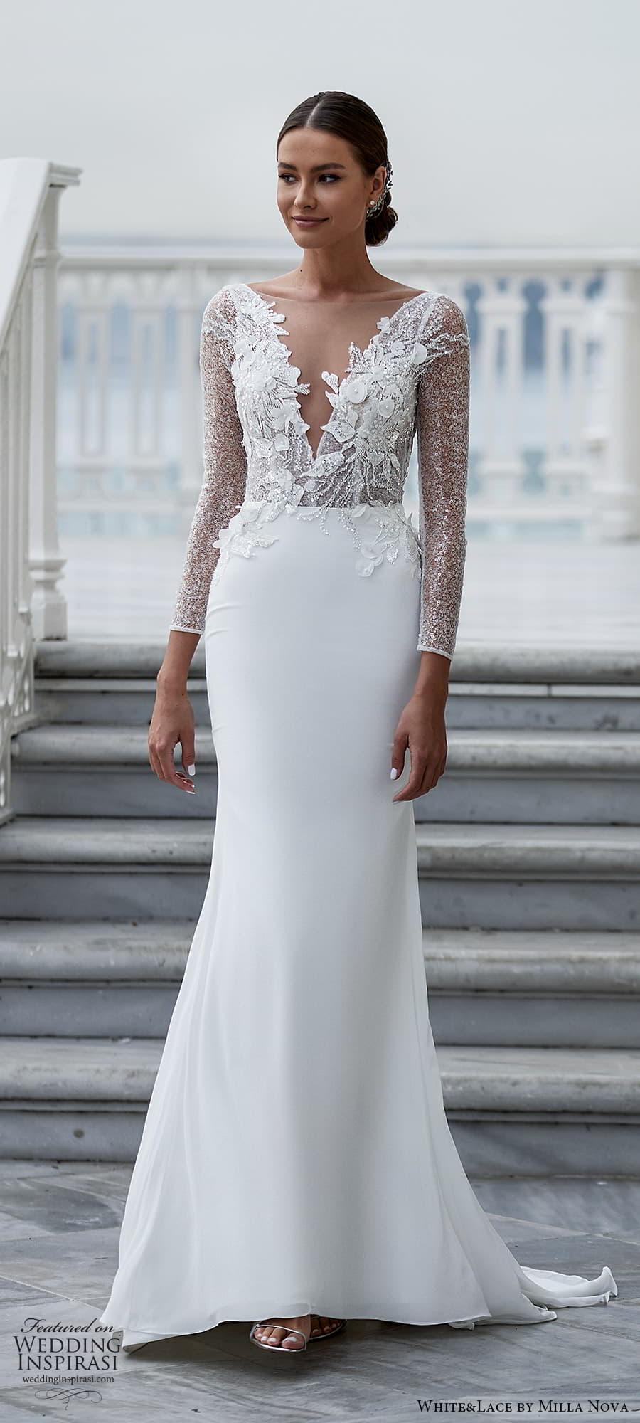 white lace milla nova 2022 bridal long sleeve plunging v neckline fully embellished sheath wedding dress (36) mv