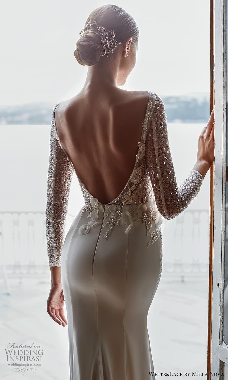 white lace milla nova 2022 bridal long sleeve plunging v neckline fully embellished sheath wedding dress (36) zbv