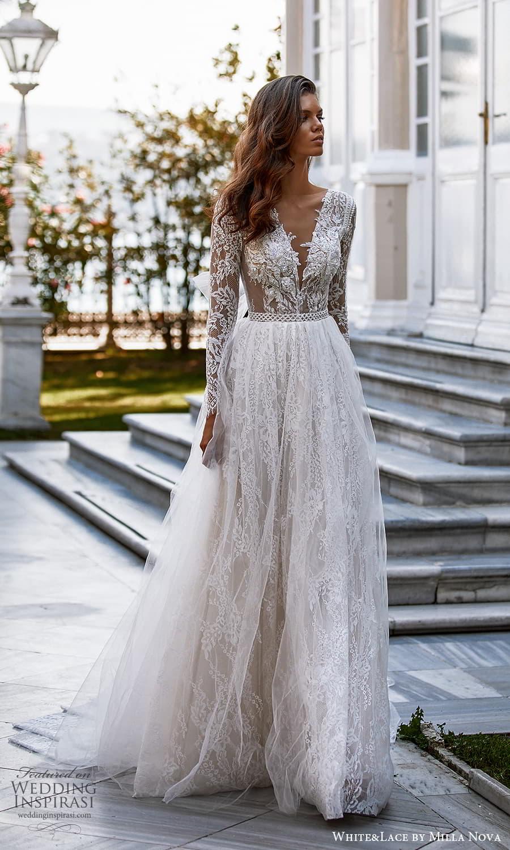 white lace milla nova 2022 bridal long sleeve v neckline fully embellished lace a line ball gown wedding dress chapel train (35) mv