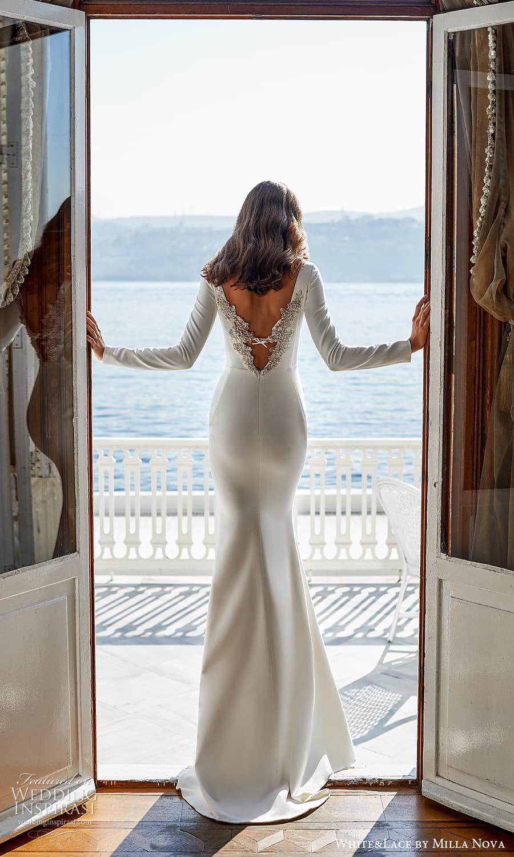 white lace milla nova 2022 bridal long sleeves bateau neckline clean minimalist sheath wedding dress sweep train (15) bv