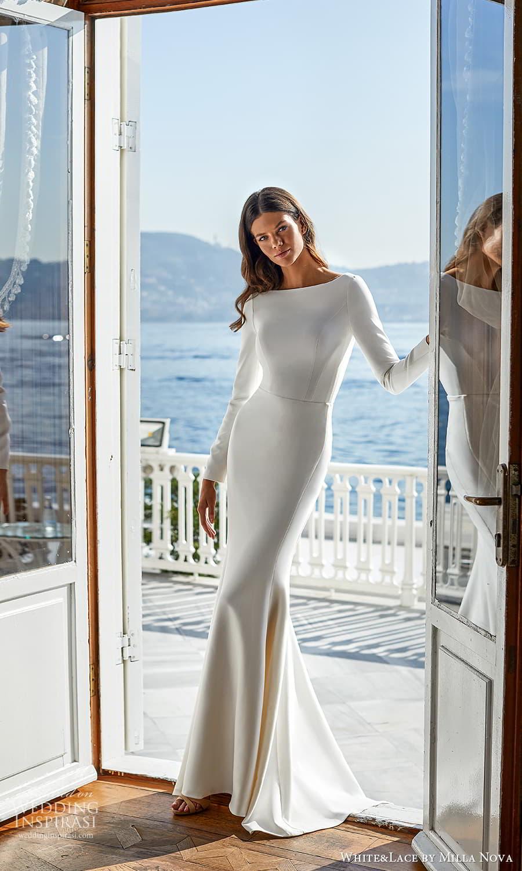 white lace milla nova 2022 bridal long sleeves bateau neckline clean minimalist sheath wedding dress sweep train (15) mv