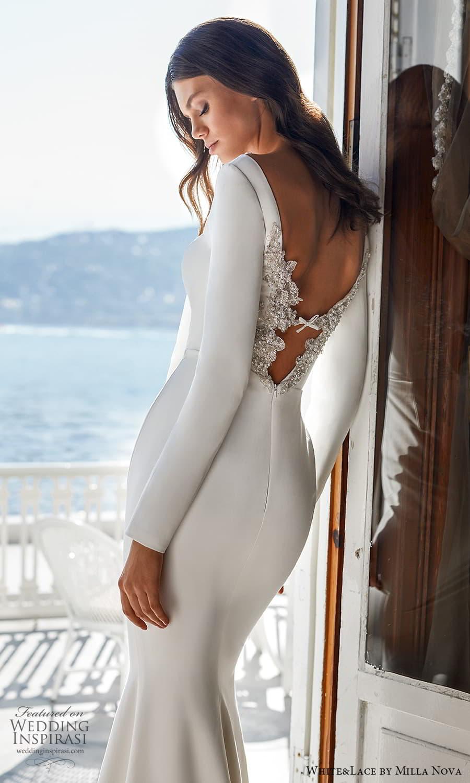 white lace milla nova 2022 bridal long sleeves bateau neckline clean minimalist sheath wedding dress sweep train (15) zbv