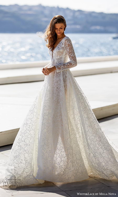 white lace milla nova 2022 bridal long sleeves v neckline fully embellished lace a line ball gown wedding dress chapel train chapel train (22) mv