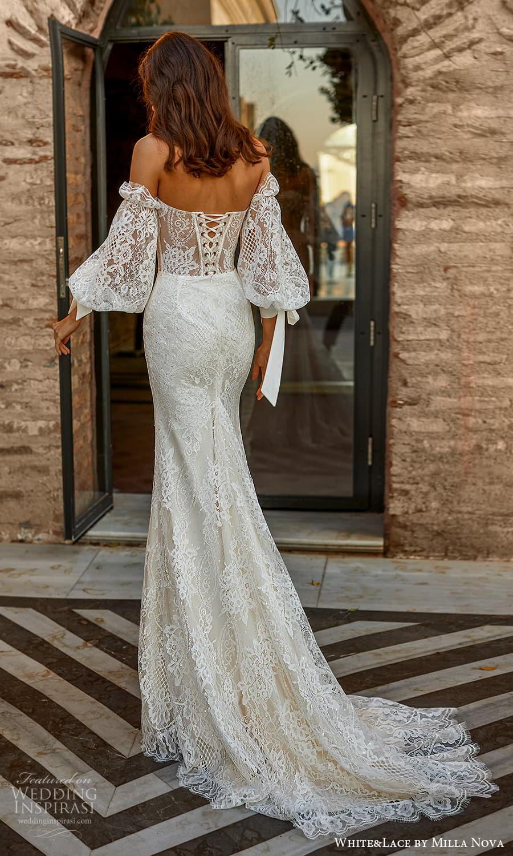 white lace milla nova 2022 bridal off shoulder bishop sleeves sweetheart neckline fully embellished jumpsuit wedding dress (29) bv