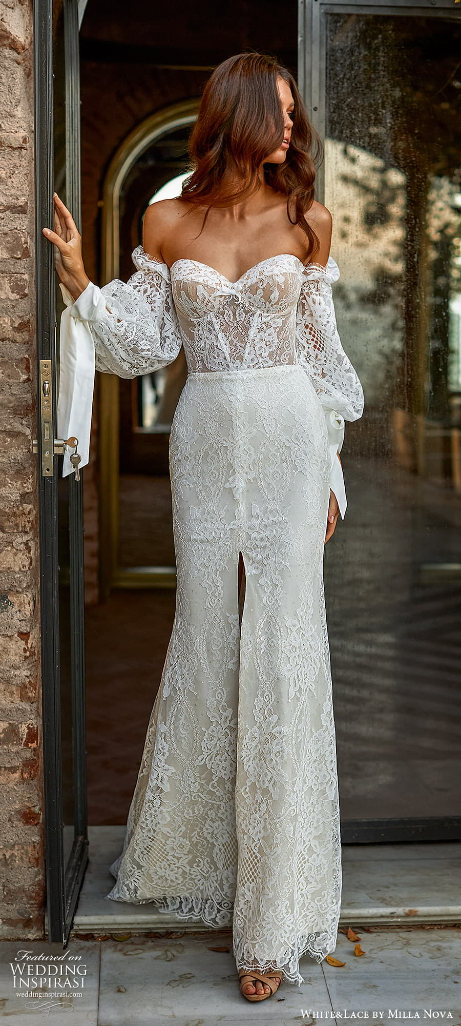 white lace milla nova 2022 bridal off shoulder bishop sleeves sweetheart neckline fully embellished jumpsuit wedding dress (29) mv