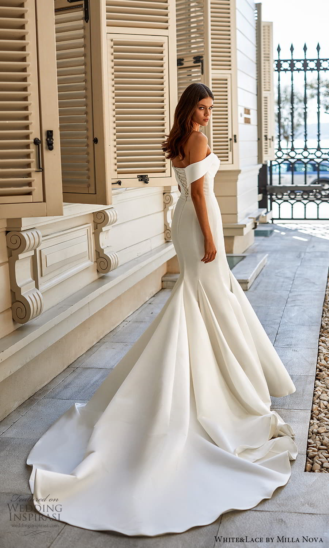 white lace milla nova 2022 bridal off shoulder straps sweetheart neckline clean minimalist fit flare mermaid wedding dress chapel train (21) bv