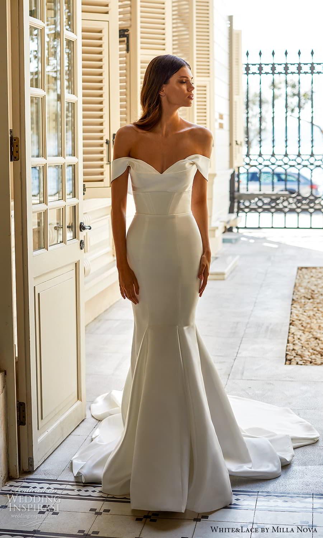 white lace milla nova 2022 bridal off shoulder straps sweetheart neckline clean minimalist fit flare mermaid wedding dress chapel train (21) mv