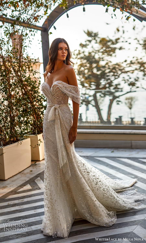 white lace milla nova 2022 bridal off shoulder straps sweetheart neckline fully embellished sheath wedding dress chapel train (5) mv