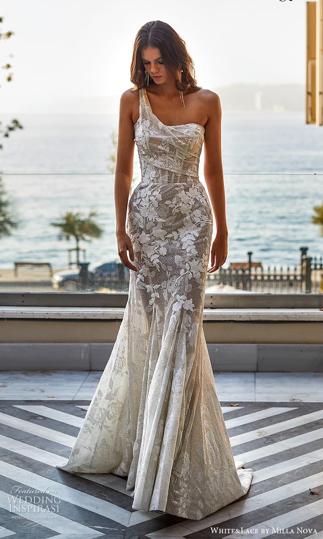 white lace milla nova 2022 bridal one shoulder straps semi sweetheart neckline embellished fit flare a line wedding dress chapel train (4) mv