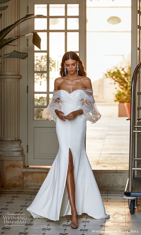 white lace milla nova 2022 bridal sheer bishop sleeves off shoulder sweetheart neckline clean minimalist fit flare mermaid wedding dress (10) mv