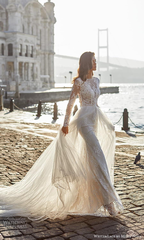 white lace milla nova 2022 bridal sheer long sleeves bateau neckline embellished lace bodice a line ball gown wedding dress chapel train (12) mv