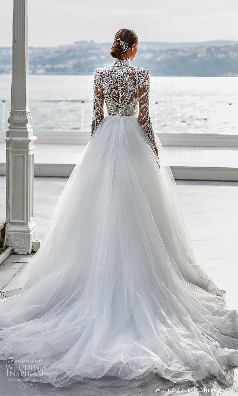 white lace milla nova 2022 bridal sheer long sleeves high neckline embellished bodice a line ball gown wedding dress chapel train (16) bv