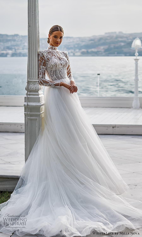 white lace milla nova 2022 bridal sheer long sleeves high neckline embellished bodice a line ball gown wedding dress chapel train (16) mv