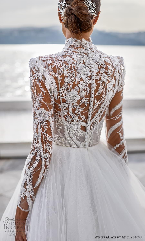 white lace milla nova 2022 bridal sheer long sleeves high neckline embellished bodice a line ball gown wedding dress chapel train (16) zbv