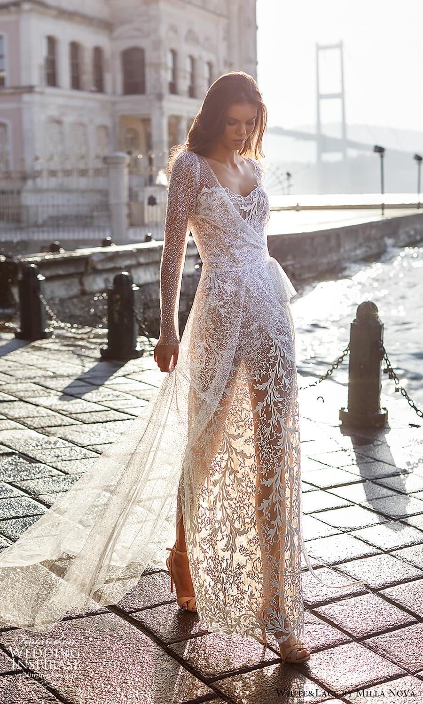white lace milla nova 2022 bridal sheer long sleeves sweetheart neckline fully embellished sheath wedding dress (7) mv