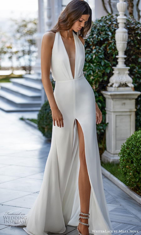 white lace milla nova 2022 bridal sleeveless halter neckline clean minimalist sheath wedding dress (30) mv