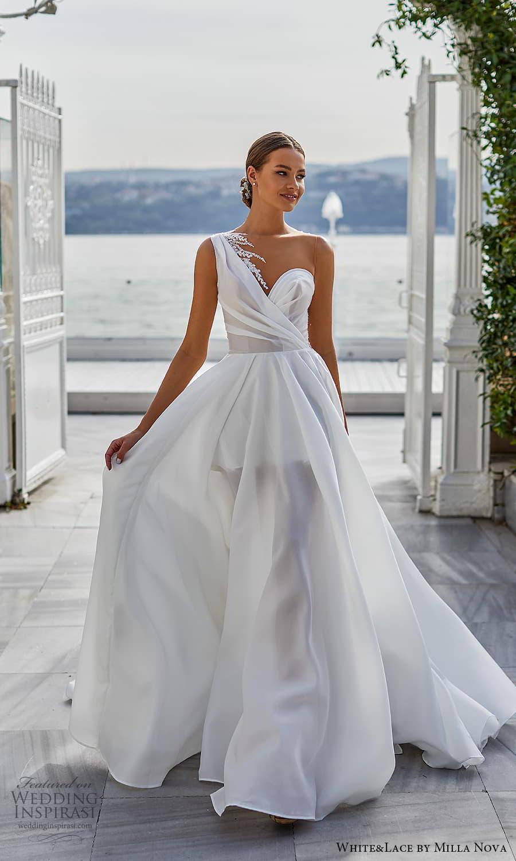 white lace milla nova 2022 bridal sleeveless one shoulder straps asymmetric sweetheart necklne clean minimalist a line ball gown wedding dress chapel train (17) mv