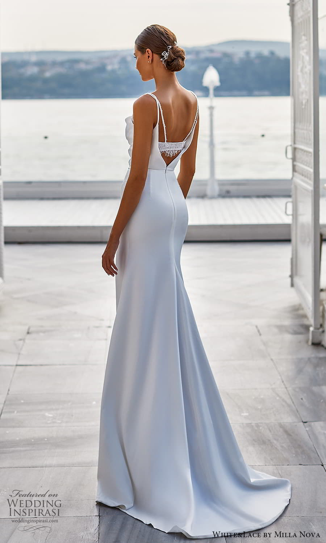 white lace milla nova 2022 bridal sleeveless straps cowl neckline clean minimalist sheath wedding dress (20) bv