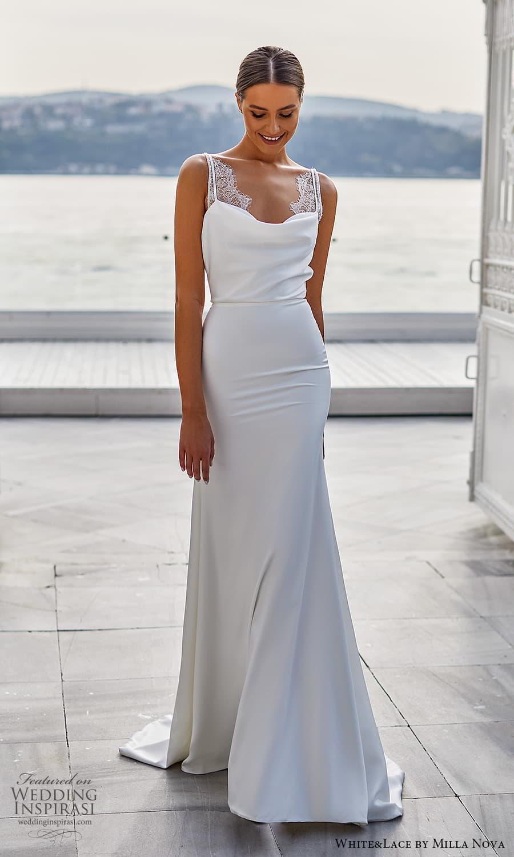white lace milla nova 2022 bridal sleeveless straps cowl neckline clean minimalist sheath wedding dress (20) mv