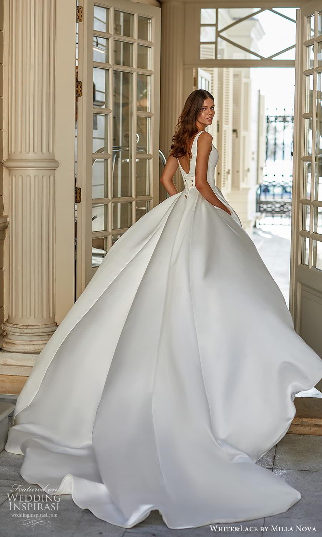 white lace milla nova 2022 bridal sleeveless straps plunging v neckline clean minimalis a line ball gown wedding dress chapel train (34) bv