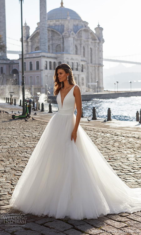 white lace milla nova 2022 bridal sleeveless straps plunging v neckline clean minimalist a line ball gown wedding dress chapel train (11) mv