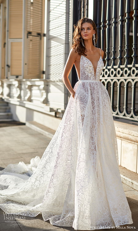 white lace milla nova 2022 bridal sleeveless straps plunging v neckline fully embellished lace a line ball gown wedding dress chapel train (1) mv