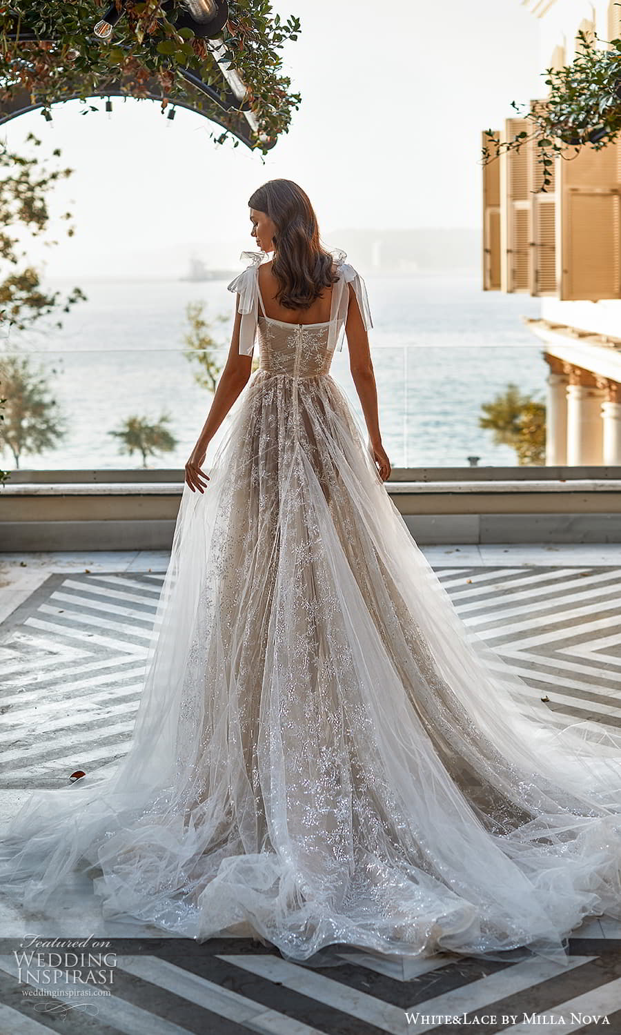 white lace milla nova 2022 bridal sleeveless straps sweetheart neckline fully embellished lace a line ball gown wedding dress chapel train (3) bv