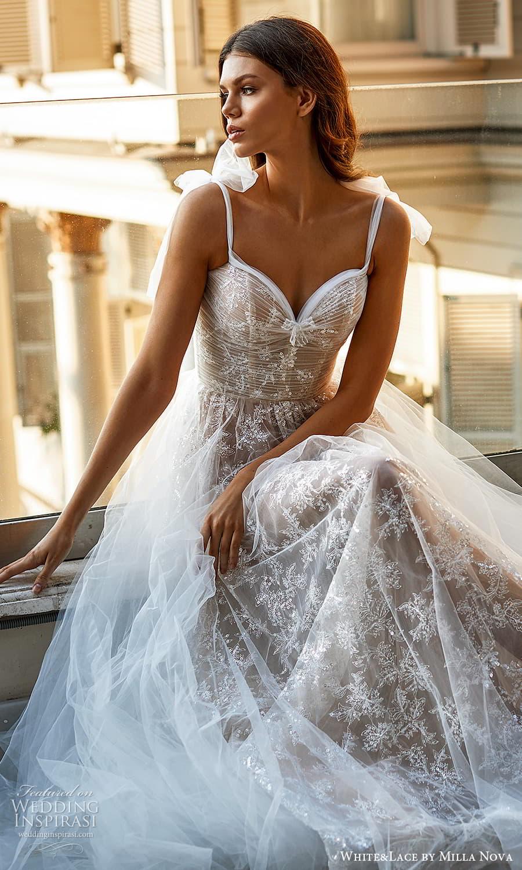 white lace milla nova 2022 bridal sleeveless straps sweetheart neckline fully embellished lace a line ball gown wedding dress chapel train (3) mv