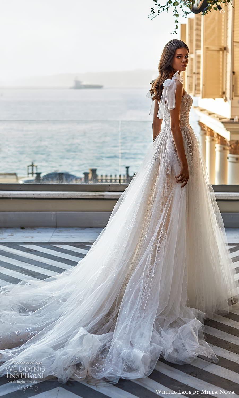 white lace milla nova 2022 bridal sleeveless straps sweetheart neckline fully embellished lace a line ball gown wedding dress chapel train (3) sv