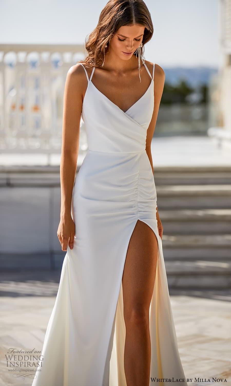 white lace milla nova 2022 bridal sleeveless straps v neckline clean minimalist modified a line wedding dress (27) mv
