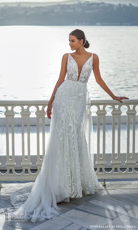 white lace milla nova 2022 bridal sleeveless straps v neckline fully embellished lace a line wedding dress (32) mv
