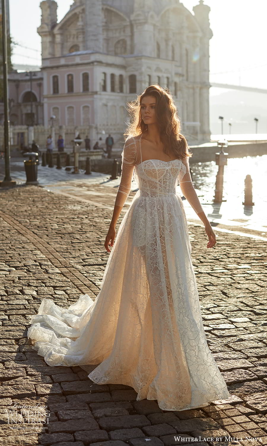 white lace milla nova 2022 bridal strapless sweetheart fully embellished a line ball gown wedding dress chapel train sheer puff sleeve jacket (6) m