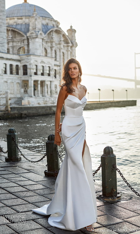white lace milla nova 2022 bridal strapless sweetheart neckline clean minimalist sheath wedding dress chapel train slit skirt (13) mv