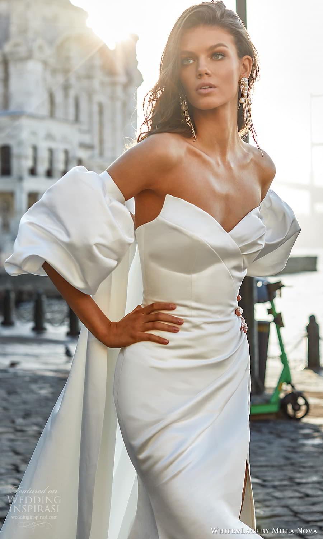white lace milla nova 2022 bridal strapless sweetheart neckline clean minimalist sheath wedding dress chapel train slit skirt (13) zv