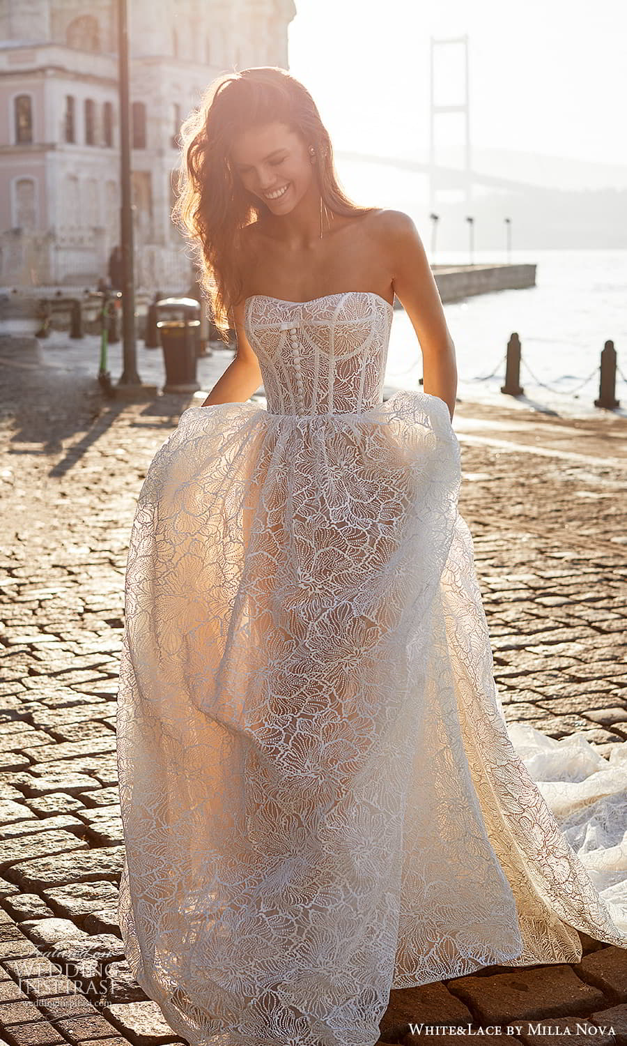 white lace milla nova 2022 bridal strapless sweetheart neckline fully embellished lace a line ball gown wedding dress chapel train (2) fv
