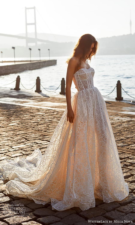 white lace milla nova 2022 bridal strapless sweetheart neckline fully embellished lace a line ball gown wedding dress chapel train (2) mv