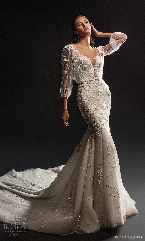 wona concept 2022 bridal 3 quarter sleeve top sleeveless illusion straps sweetheart neckline fully embellished sheath wedding dress chapel train (9) mv
