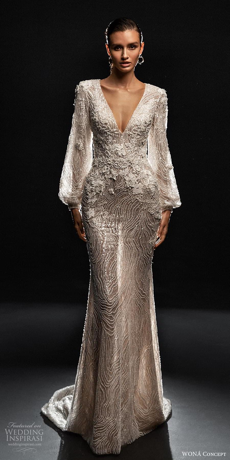 wona concept 2022 bridal bishop sleeves v necklne fully embellished sheath wedding dress (26) mv