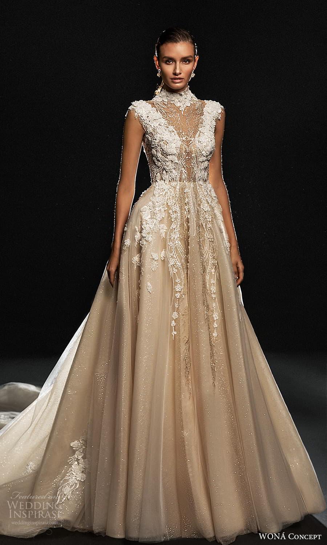wona concept 2022 bridal cap sleeves high neckline fully embellished a line ball gown wedding dress chapel train (16) mv