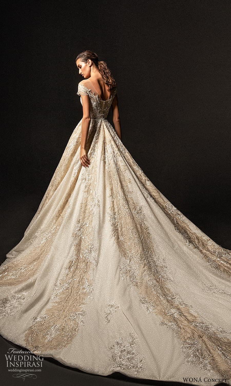 wona concept 2022 bridal cap sleeves v neckline fully embellished a line ball gown wedding dress chapel train (7) bv