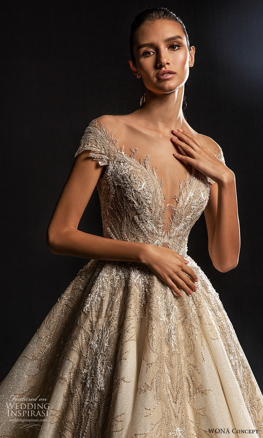 wona concept 2022 bridal cap sleeves v neckline fully embellished a line ball gown wedding dress chapel train (7) zv