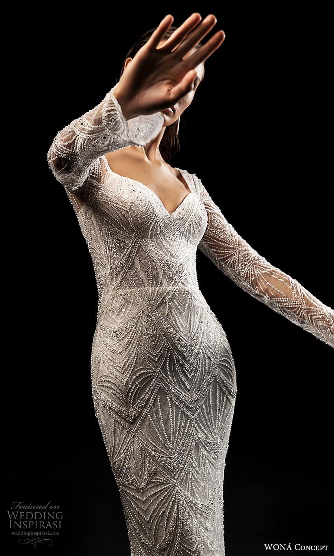 wona concept 2022 bridal flare long sleeves sweetheart neckline fully embellished sheath wedding dress (25) zv