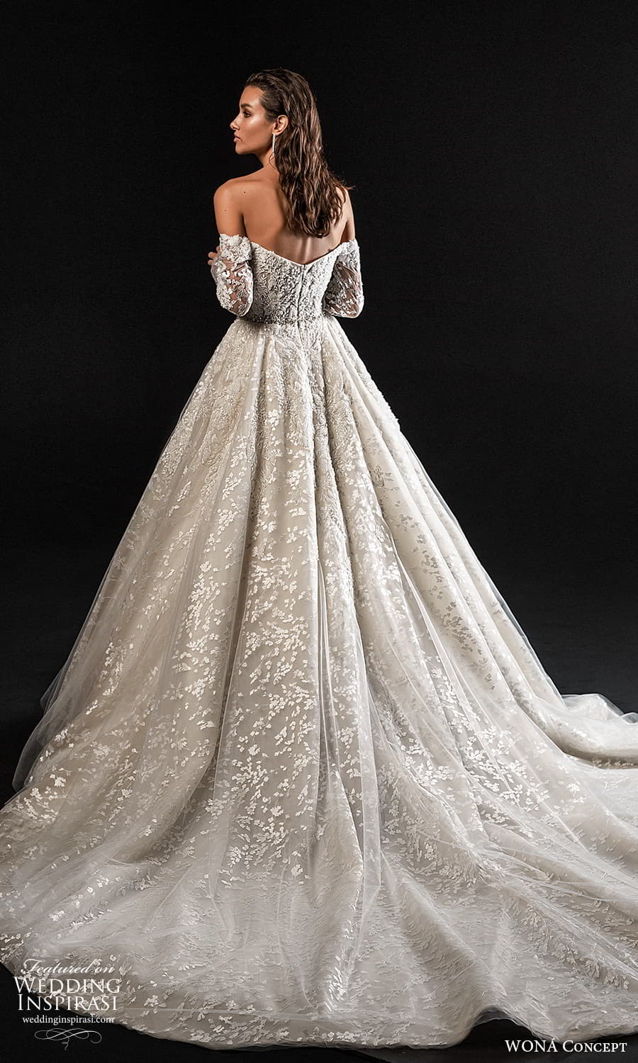 wona concept 2022 bridal long detached sleeves straight across neckline fully embellished lace ball gown wedding dress chapel train (23) bv