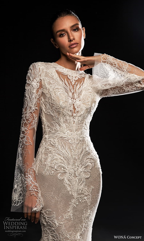 wona concept 2022 bridal long flare sleeves jewel neckline fully embellished lace sheath wedding dress (21) mv