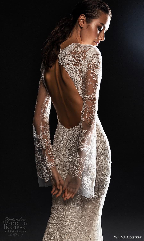wona concept 2022 bridal long flare sleeves jewel neckline fully embellished lace sheath wedding dress (21) zbv