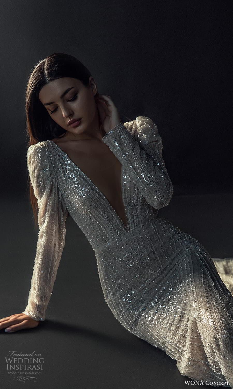 wona concept 2022 bridal long puff sleeve v neckline fully embellished sheath wedding dress (29) mv