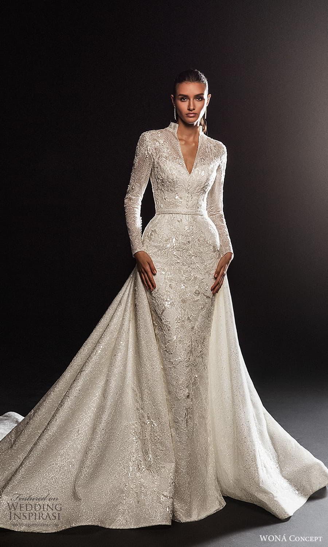 wona concept 2022 bridal long sleeve high v neckline fully embellished sheath wedding dress (17) mv