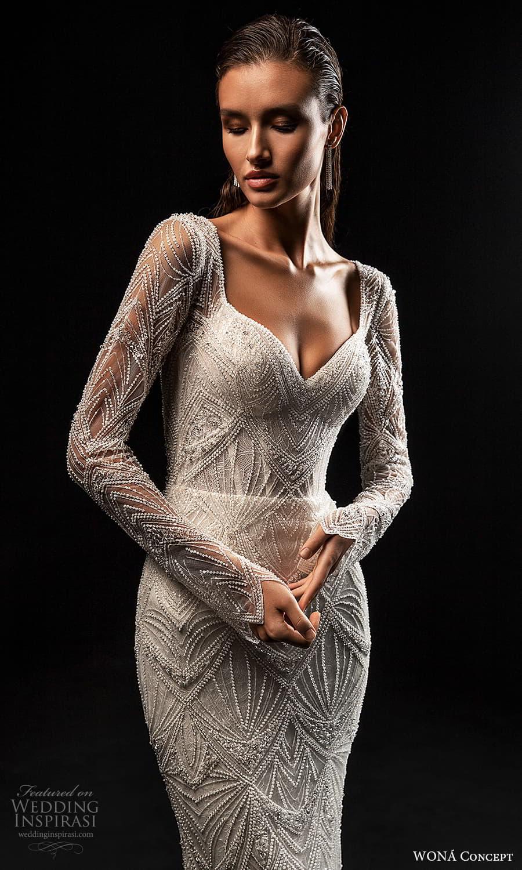 wona concept 2022 bridal long sleeve sweetheart necklne fully embellished sheath wedding dress chapel train (11) zv