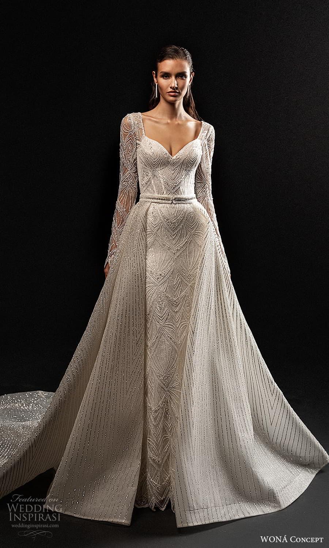 wona concept 2022 bridal long sleeve sweetheart necklne fully embellished sheath wedding dress chapel train a line overskirt (11) mv